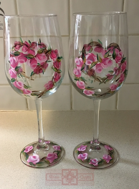 Rosie Crafts Painted Rose Wine Glass Set
