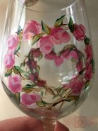 Rosie Crafts Painted Rose Wine Glass Close-up