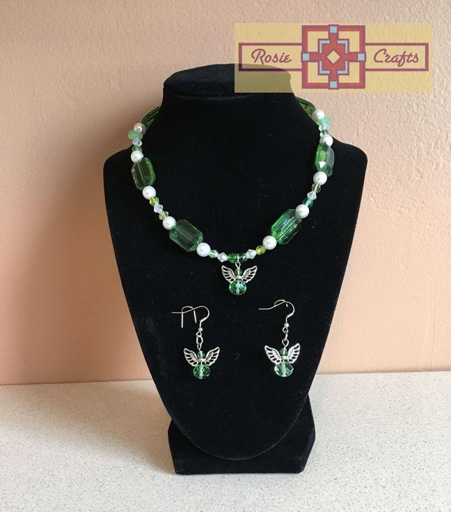Rosie Crafts Green Angel Artisan Jewelry Set