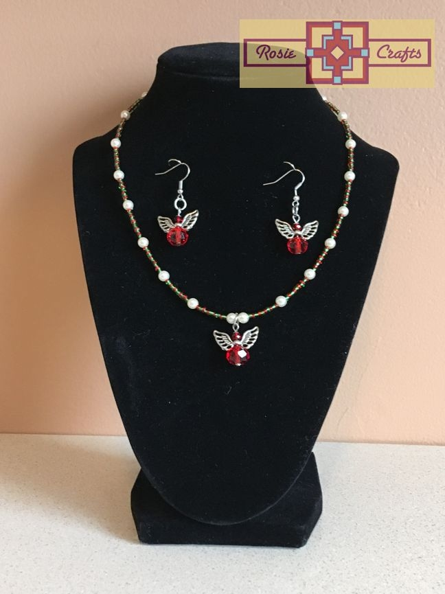 Rosie Crafts Christmas Angel Artisan Jewelry Set