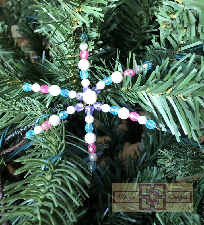Rosie Crafts Beaded Pearl Christmas Snowflake Ornament