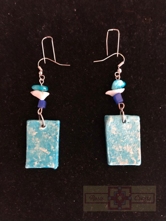 Rosie Crafts Polymer Clay Rectangular Earrings