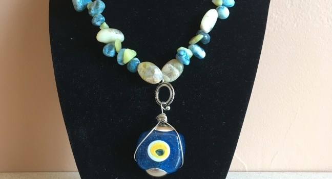 Rosie Crafts Evil Eye Blue/Yellow Stone Necklace