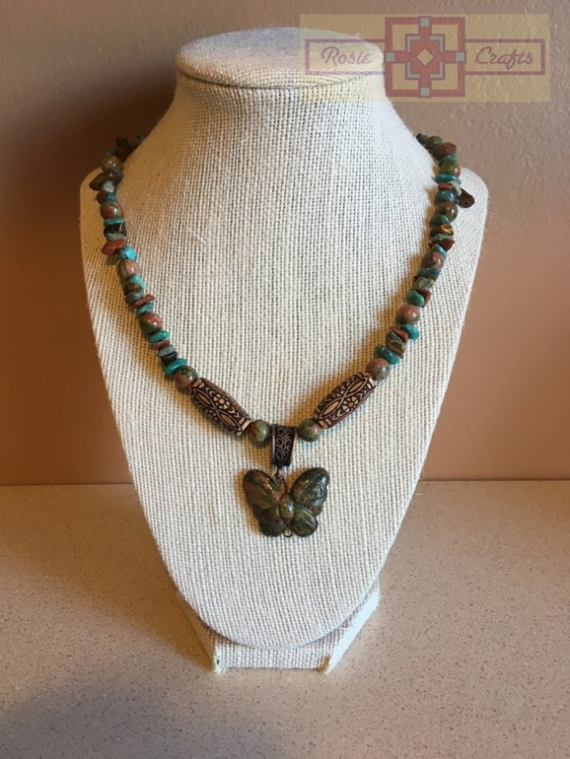 Artisan Tribes Unakite Butterfly Necklace