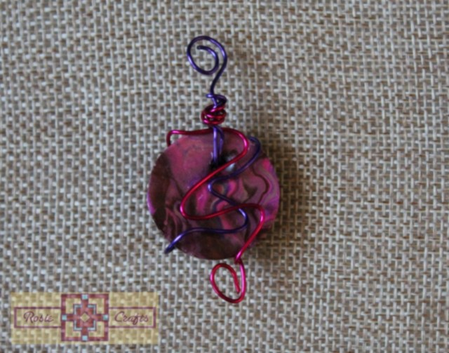 Artisan Tribes Polymer Clay Circular Purple/Pink Marbelized Wire Wrapped Pendant