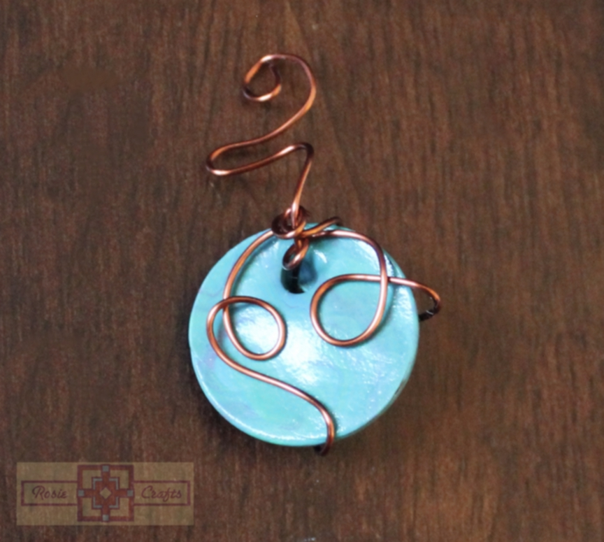 Artisan Tribes Polymer Clay Circular Turquoise Wire Wrapped Pendant