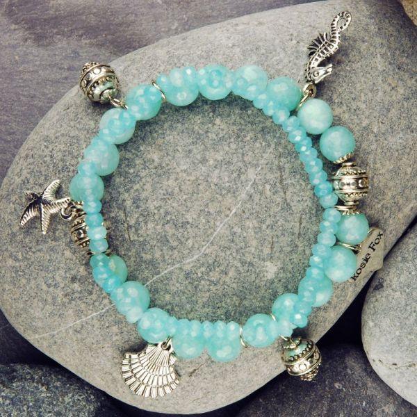 Aquamarine Nautical Charm Bracelet