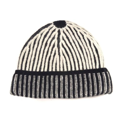 Two tone ribbed beanie | Black/Ivory