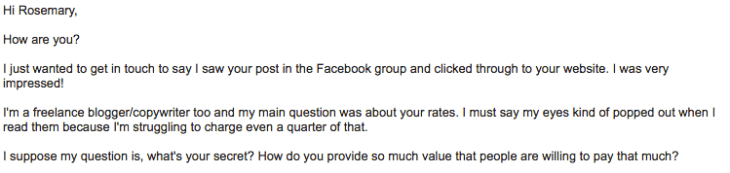 pricing example email