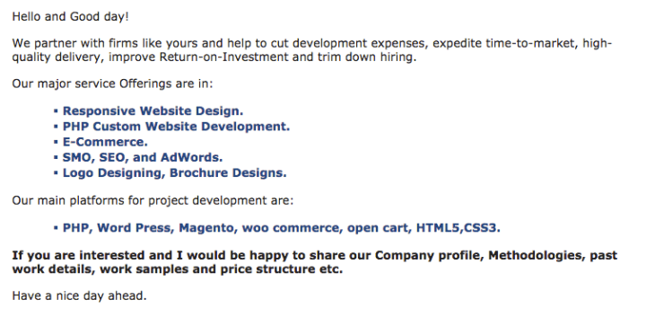pitching businesses sample email screenshot