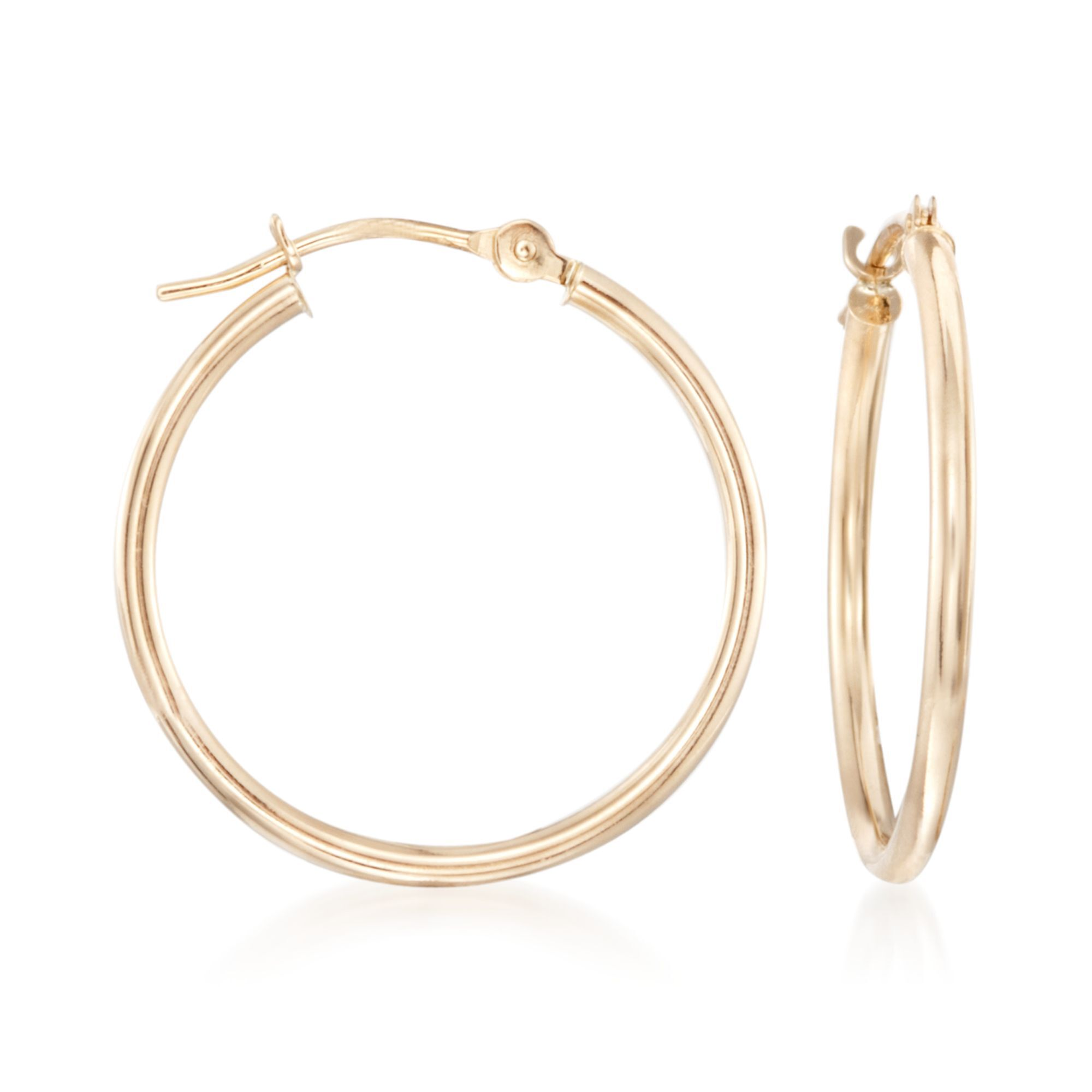 14kt Yellow Gold Hoop Earrings. 15/16""