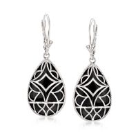 Black Onyx Drop Earrings in Sterling Silver | Ross Simons
