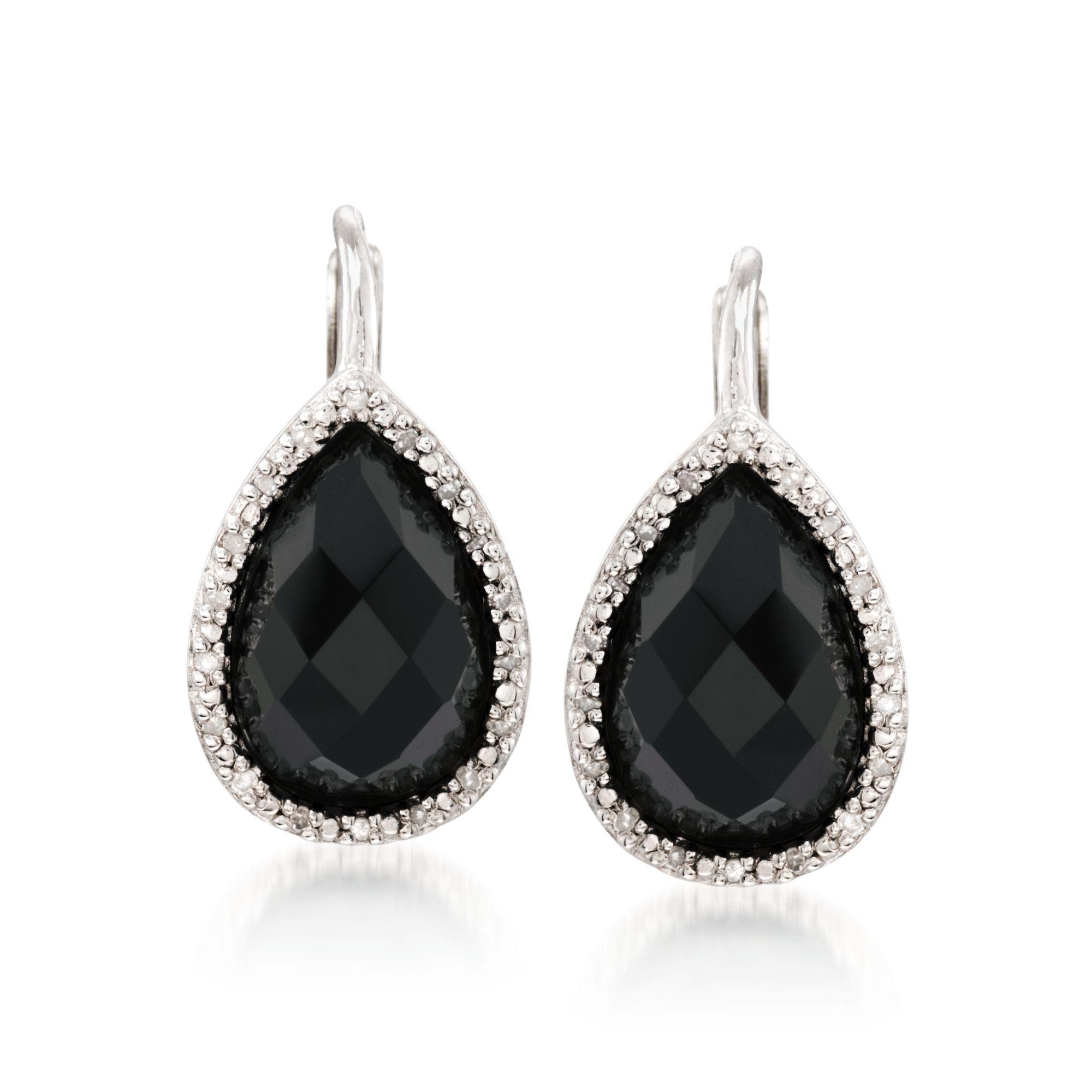 Black Onyx and .11 ct. t.w. Diamond Drop Earrings in
