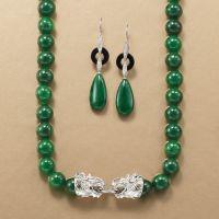 20x10mm Green Jade Teardrop Earrings With Black Agate and ...