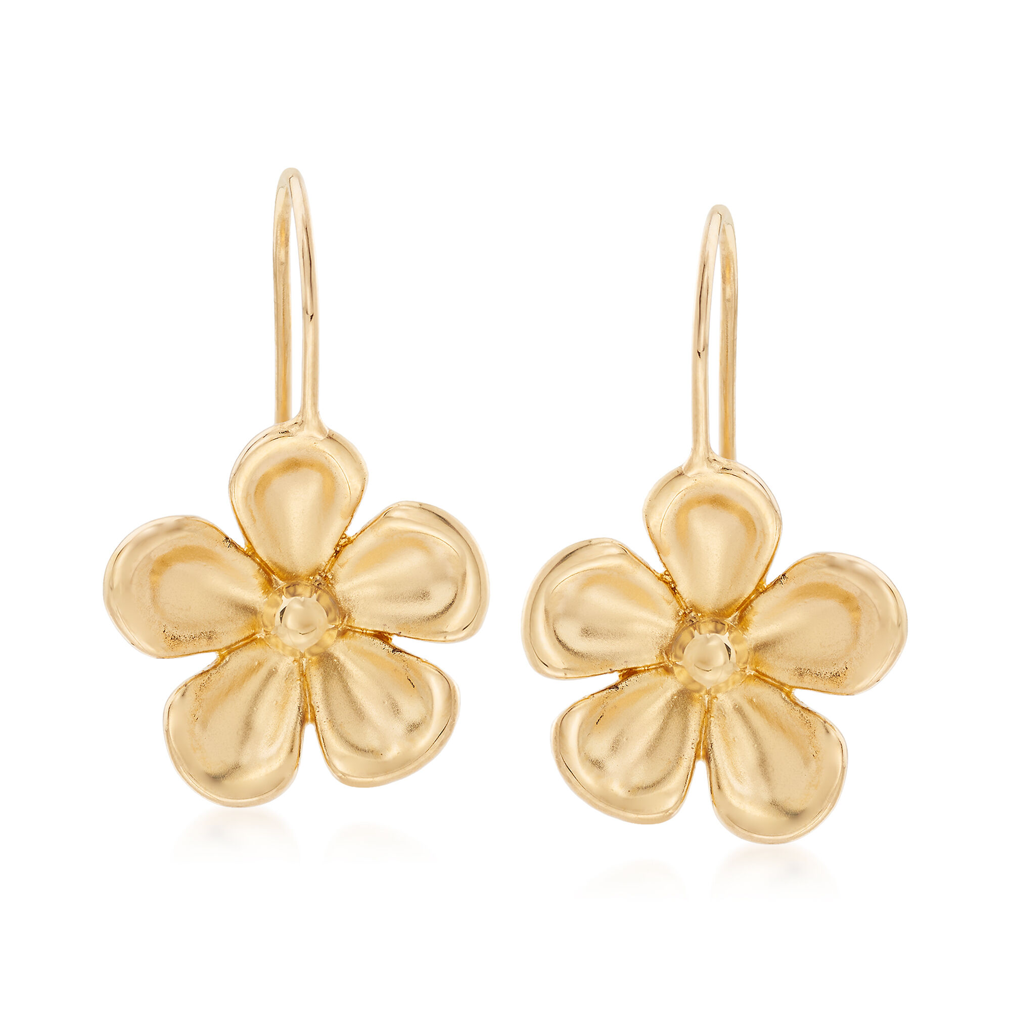 14kt Yellow Gold Pansy Drop Earrings