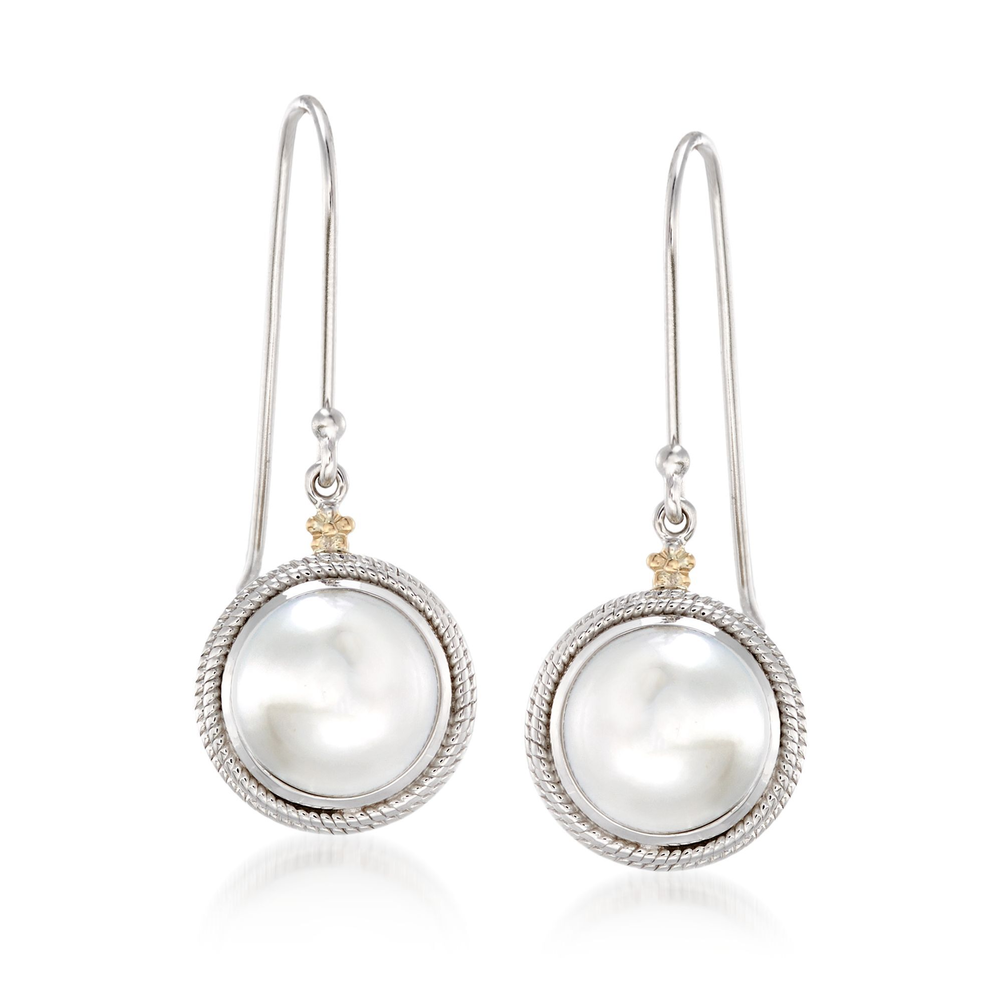 10mm Cultured Pearl Drop Earrings With 14kt Yellow Gold