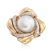 11-11.5mm Cultured Pearl and .12 ct. t.w. Diamond Ring in ...