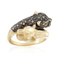.11 ct. t.w. Brown Diamond Panther Bypass Ring in 14kt ...
