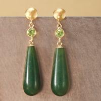 Green Jade Teardrop Earrings With .60 ct. t.w. Peridot in ...