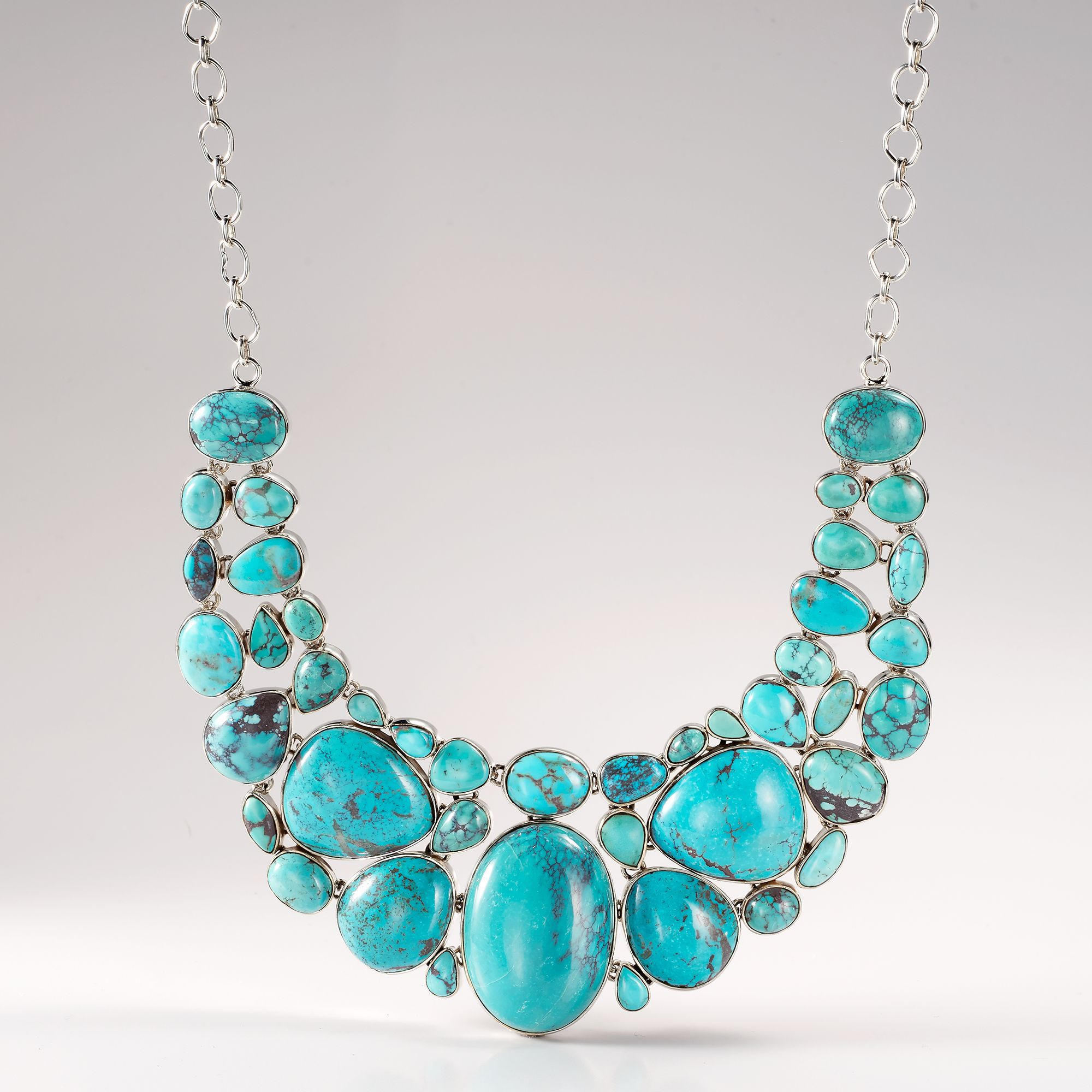 Turquoise Bib Necklace in Sterling Silver. 18