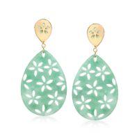 Green Jade Teardrop Earrings With Floral Designs in 14kt ...