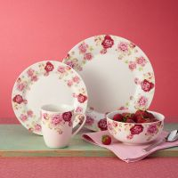 """16-pc. Service for 4 """"Blossoming Rose"""" Porcelain ..."""