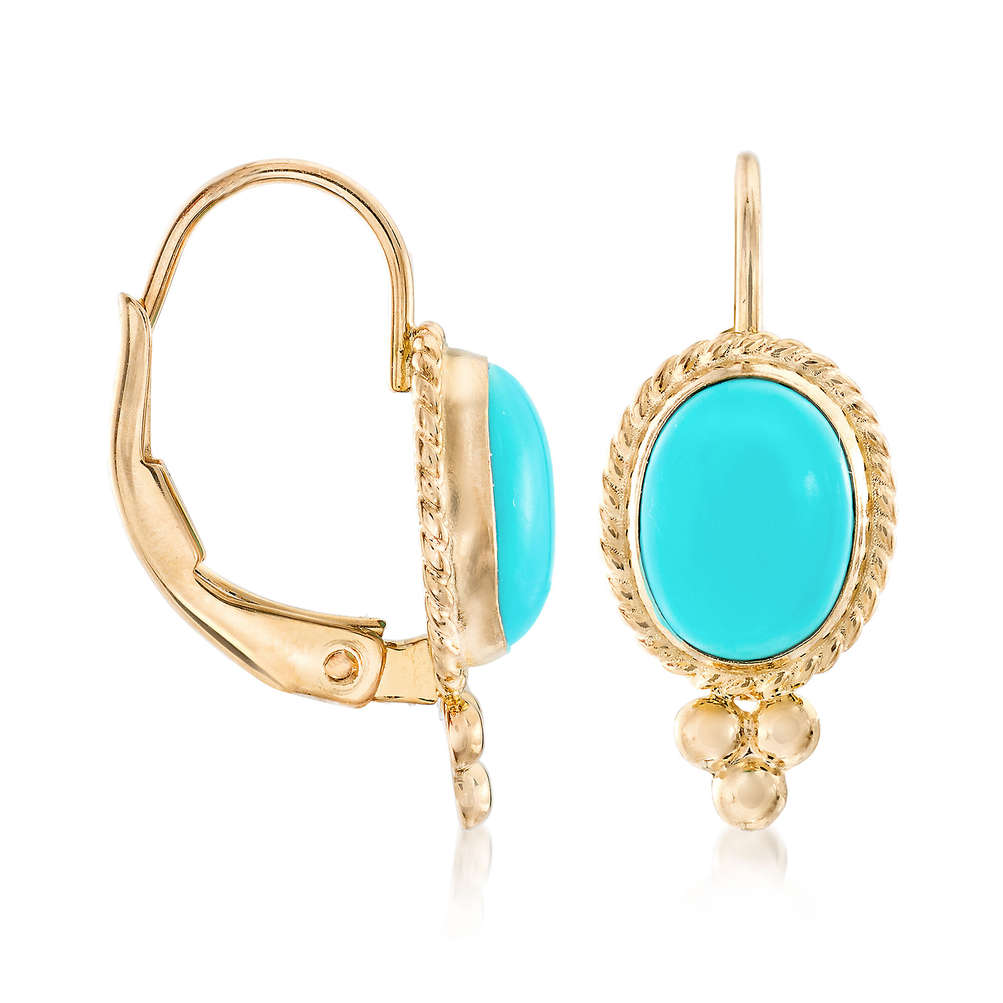 Turquoise Rope Edge Earrings in 14kt Yellow Gold