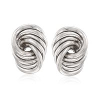 Sterling Silver Large Spiral Knot Clip-On Earrings | Ross ...
