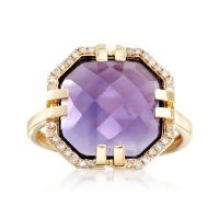 4.40 Carat Amethyst and .11 ct. t.w. Diamond Ring in 14kt ...