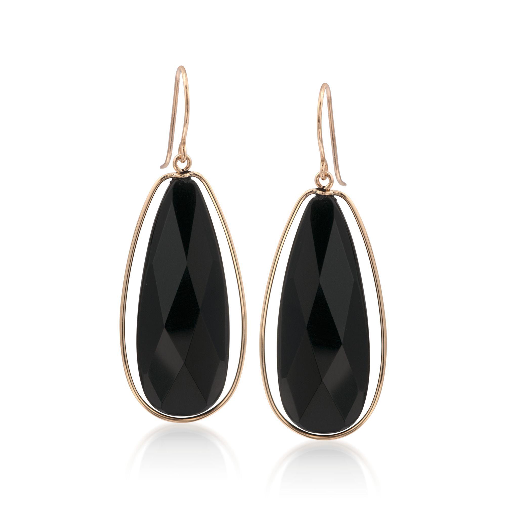 Black Onyx Dangle Earrings in 14kt Yellow Gold