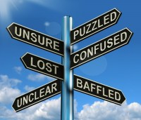 Signpost: puzzled, unsure, confused, etc.