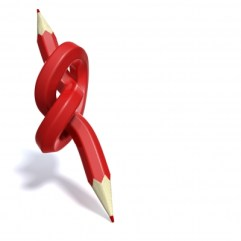 A twisted, two-ended red pencil