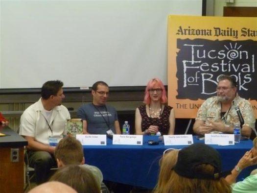 L-R: Austin Aslan, Paolo Bacigalupi, Charlie Jane Anders, Jonathan Maberry