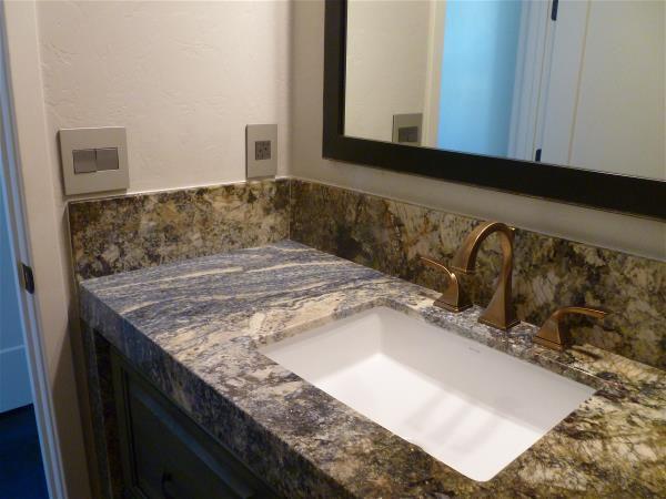 Guest bath granite backsplash left