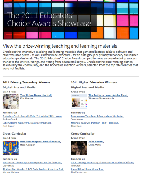 Adobe Educator's Choice Awards