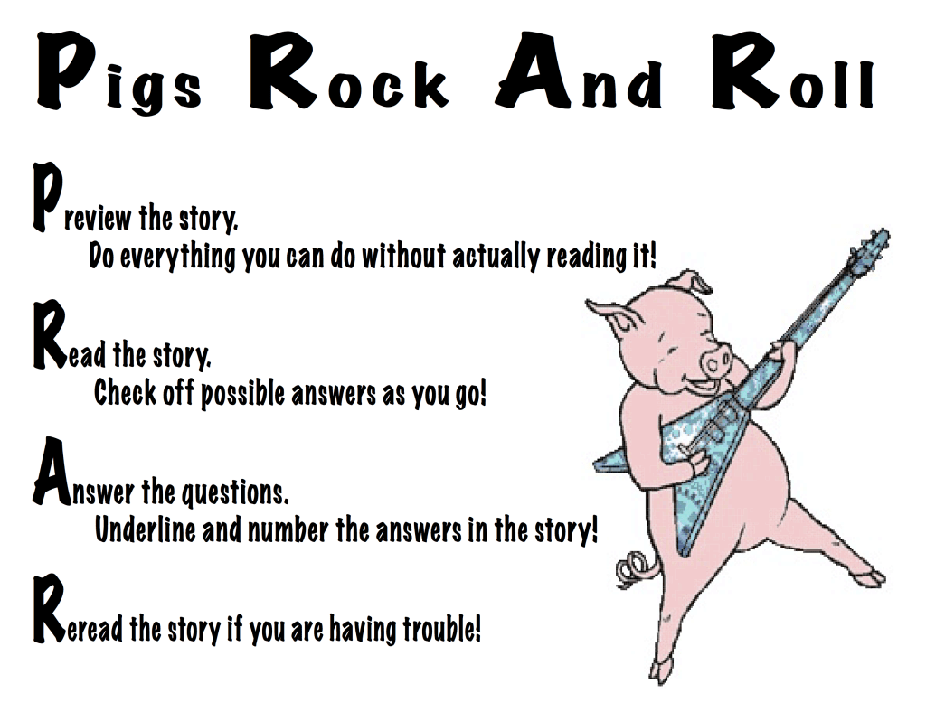 Pigs Rock And Roll Our Strategy For Multiple Choice Reading Comprehension Questions