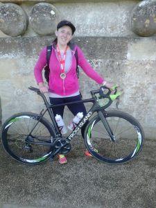 Blenheim Sprint Triathlon Finisher Photo with a sexy carbon bike