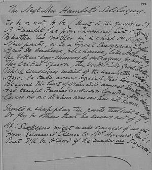 The Next New Hamlet's Soliloquy (final fair copy manuscript)