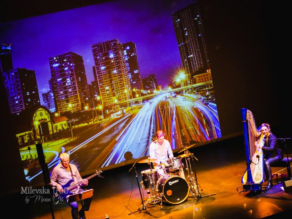 harp double bass drums milevska trio jazz unique in Europe