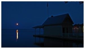 Moonrise over Lake Champlain with Rosslyn boathouse in foreground