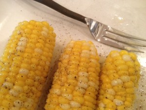 This is the first sweetcorn I've harvested from our vegetable garden this summer. Delicious!