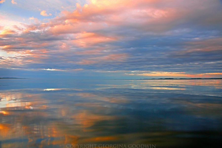Swathes of pink and blue, sunset on a silky Lake Champlain in upstate New York in summer. Bliss. (Photo: Georgina Goodwin)