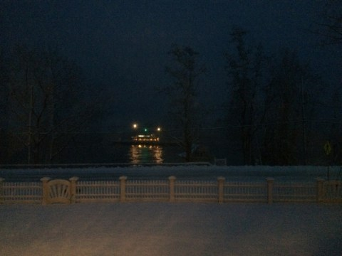 Essex-Charlotte ferry adrift perilously close to Rosslyn boathouse on 10 December 2014.