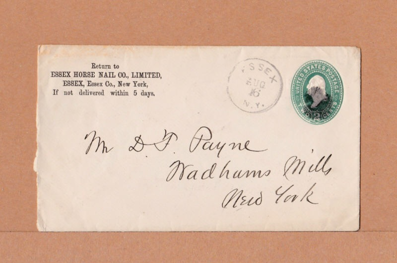 Envelope from the Essex Horse Nail Co., Limited in Essex, New York.