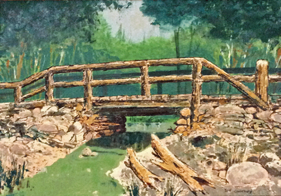 Oil painting of Old Stump Bridge in Whallons Bay by Sid Couchey (Source: Heidi Labate)
