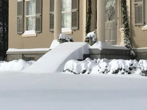 """Winter Wonderland 2019: Rosslyn's front entrance buried in 20-24"""" of fresh snow. (Credit: P.M.)"""
