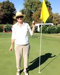 Marcia Belcher sinks her first hole-in-one
