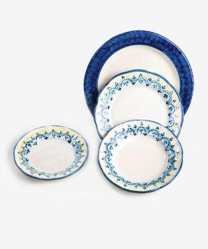 RARDTV02 servizio piatti ceramica vietri decorato geometrico blu avossa rossoaltramonto