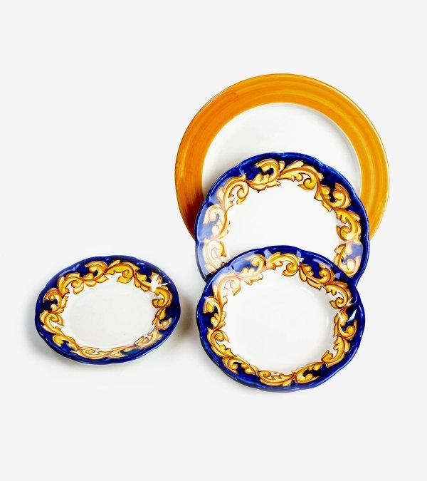 RARDTV04 servizio piatti ceramica vietri decorato barocco blu avossa rossoaltramonto