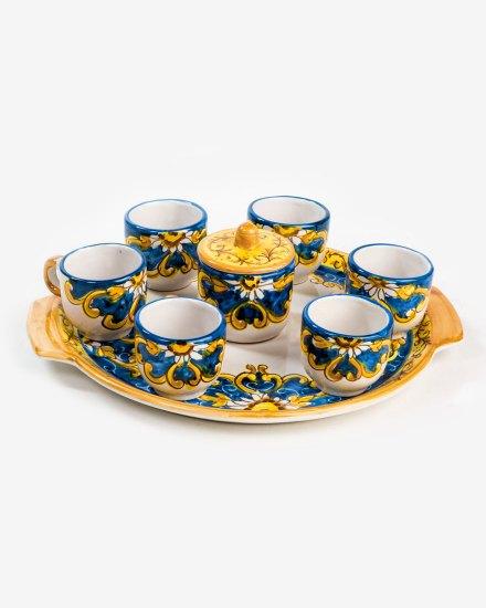 RARDTV52 vassoio tazzine caffe ceramica vietri zuccheriera blu avossa rossoaltramonto